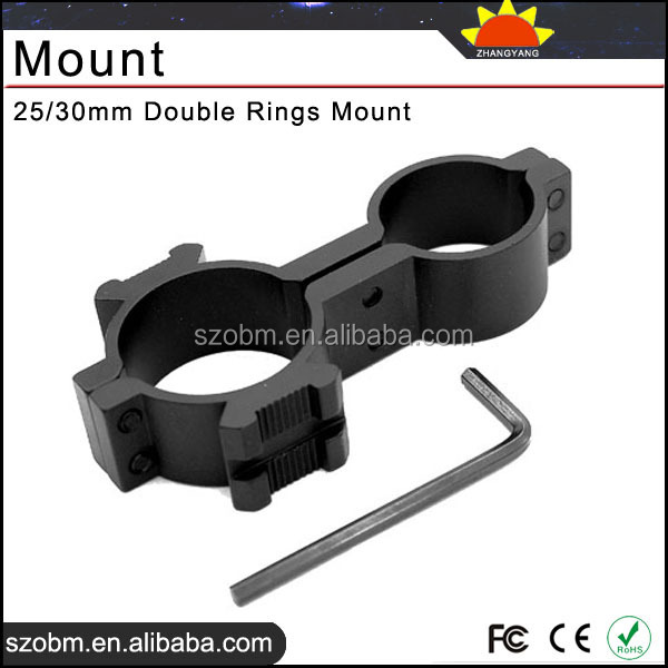 25/30mm Tactical Riflescope Gun Scope laser Light torch Double Rings Mount