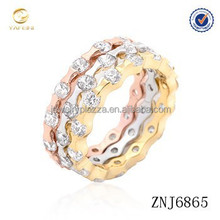 Factory Directly Wholesale fashion 925 Sterling silver tritone stackable rings
