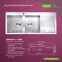 L-11650 cupc House Star High quality double drain board kitchen sinks/wholesale double drainboard kitchen sinks
