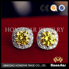 Clear cute lemn yellow crystal earrings factory sale women stud earrings