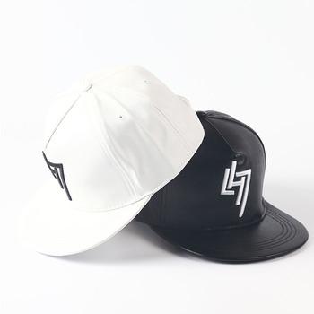 Custom leather blank flat brim 5 panel snapback cap hat 4df9396d85b4