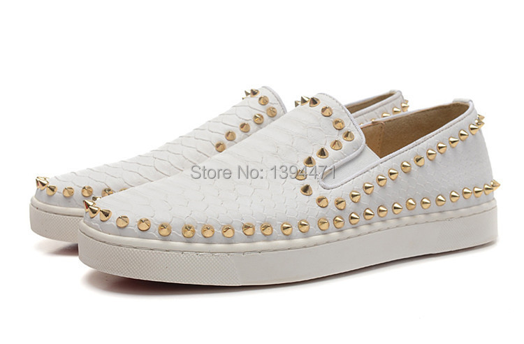 2015 Brand women white shoes low red bottom sneakers for women fashion rivet sneakers plus size 36-46