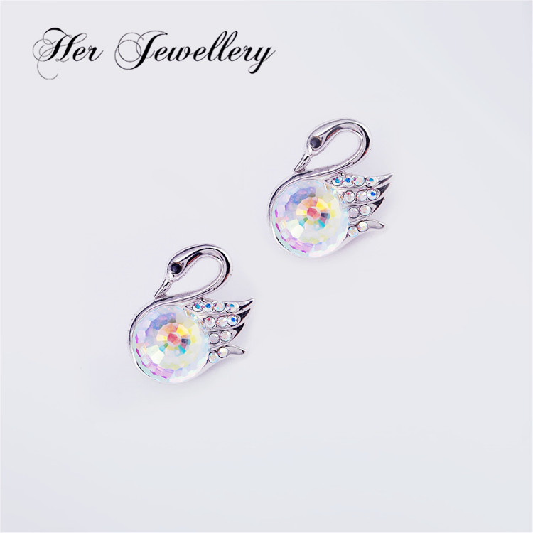 Her Jewellery cute swan stub earring with fascinating stone for women Embellished with Crystal from Swarovski HSE0151