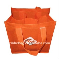 PP non woven divide six wine bottles packing bag
