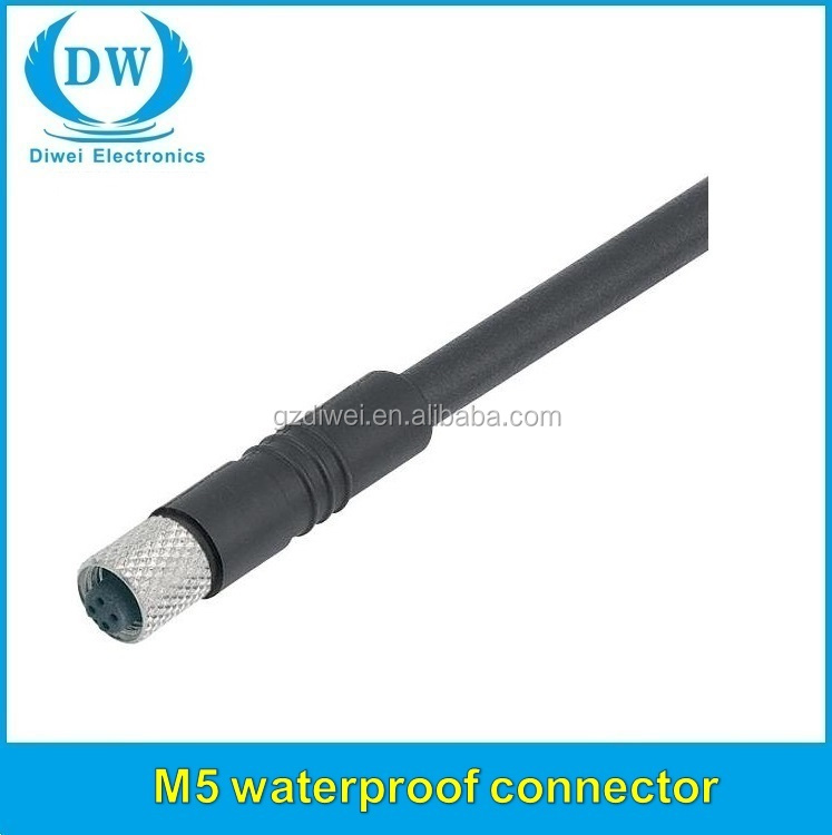 Binder m5 male female molded cable connector,Circular connector with M5 x <strong>0</strong>,5 screw-locking waterproof m5 connector
