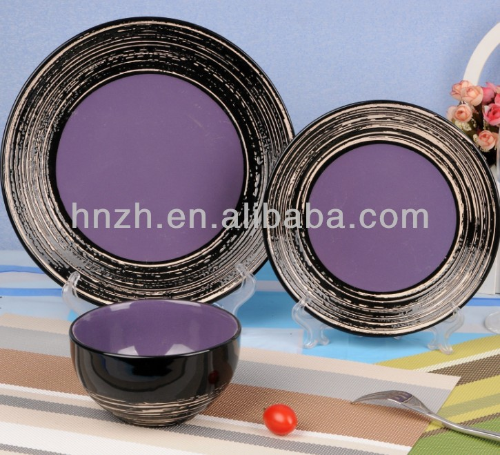 12pcs wholesale black band stoneware dinnerware sets purple buy dinnerware sets stoneware dinnerware setspurple embossed dinnerware set