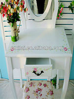 New design dresser with bench and adjustable mirror folding mirror