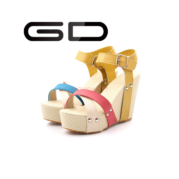 2016 fashion cheap wedges hemp rope sandals platform shoes