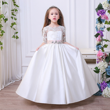 Beading Dresses lace Appliques Satin Button Flower Girl Dresses Wedding Christmas Tulle Ball Gowns New Arrival