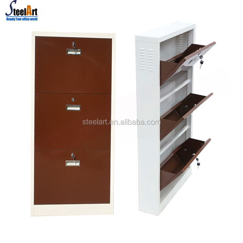 Space saving modern design metal shoe rack cabinet
