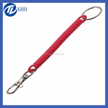 plastic spring rope extension coil spiral coiled cord with key ring