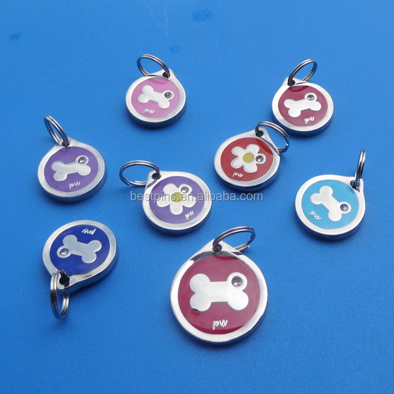 acrylic stone bling flower/bone/fish/cat/woof/star/flower print dog tags in metal brass for laser machine with split ring