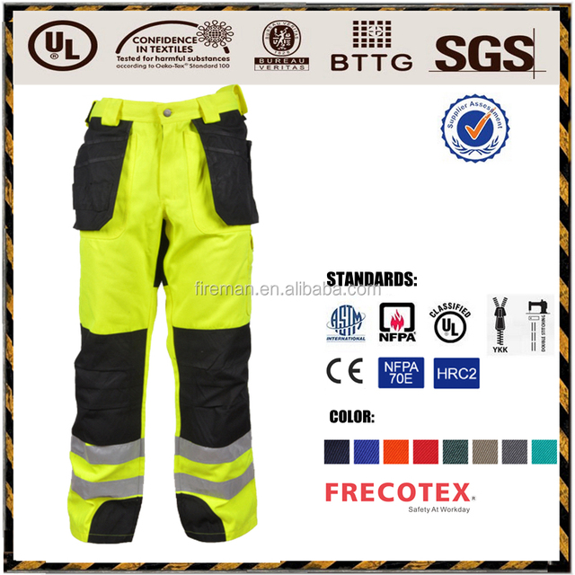 Industrial workwear high visibility safety reflective work cargo pants trousers manufacture