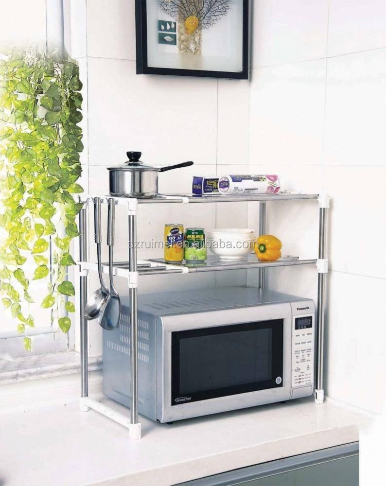 Kitchen shelves for microwave - 2 Tier Microwave Oven Rack Kitchen Shelves Buy Microwave Oven Rack Kitchen Shelves Storage Organizer Kitchen Pot Rack Microwave Oven Shelves Rack Product