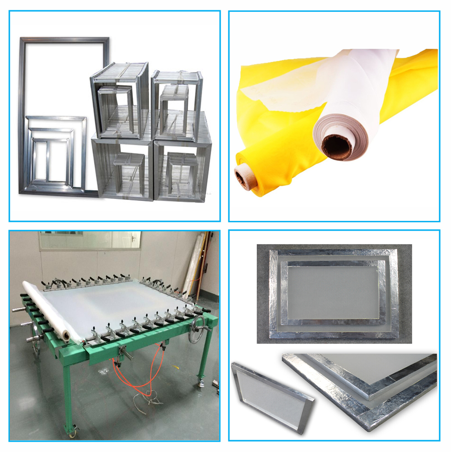 Aluminum silk screen printing frame with mesh