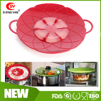 24cm flower Durable food grade silicone pot lid/spill stopper lid/cover