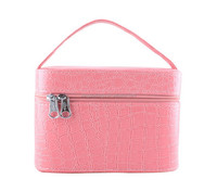 Pink PU Leather Cosmetic Bag Travel Hard Case Cosmetic Box