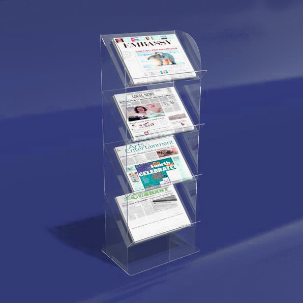 Custom Floor Standing 4 Tier Clear Acrylic Newspaper Stand