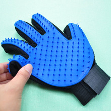 Blue Glove Brush Deshedding tool silicone Pet Grooming gloves silicone Massage pet hair remover