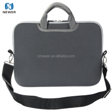 Customized design soft neoprene waterproof laptop hidden handle sleeve bag with double zippers