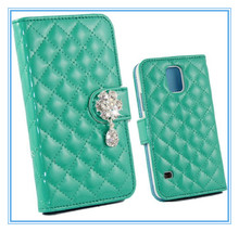 Mint Green Shinny Bling Diamond PU Leather Wallet Magnetic Flip Case for Galaxy S5 i9600 Case