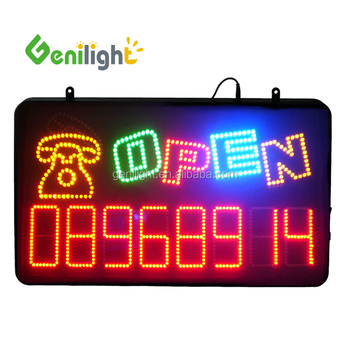 Indoor Open LED Sign with Telephone