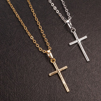 Copper Silver Gold Cross Pendant Necklace Women Mens Cross Charms Clavicle Collar Religion Jewelry Crucifix Christian jewelry