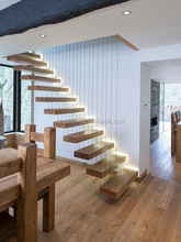 Modern decorative floating wood stairs with invisible stringer stainless vertical rod railing