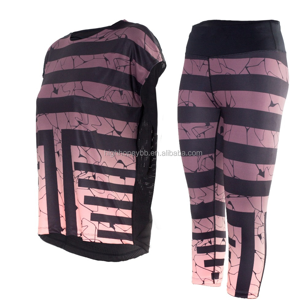 Women sportswear sets top and wrest top and legging