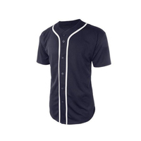 Custom 100% Cotton Mens Active Short Sleeve Button Up Baseball Jersey Shirt