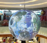 hanging inflatable globe balloon with LED lighting