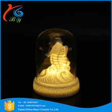 ceramic ocean seahorse decoration glass cover mini night light