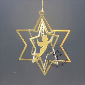 metal craft 3d metal Christmas ornament with angel etched