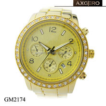 Crystal 5 atm water resistant japan movement luxury quamer watch dual time