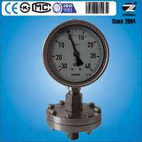 YPT-100A all stainless steel thread type diaphragm pressure gauge with bottom type connection