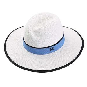 5586d609277a25 M Letter Panama Straw Hat Sun Beach White Summer Hats Women Flat Wide Brim  Cap