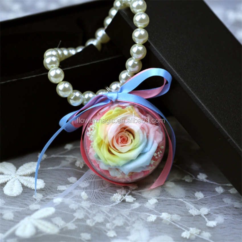 Chinese Supplier Wedding Return Gift Preserved Flower Car Hanging Rose in Ball