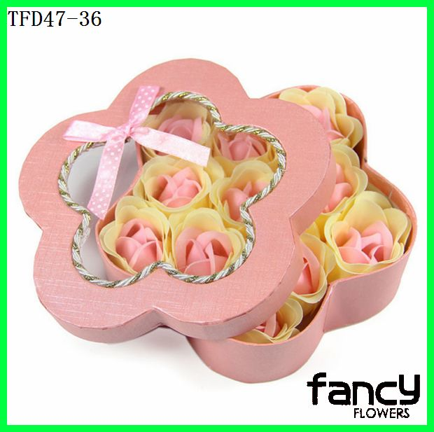 Scented Artificial Quincunx Paper Box 11 Flowers Soap Flower Handmade Gift Artificial Flower
