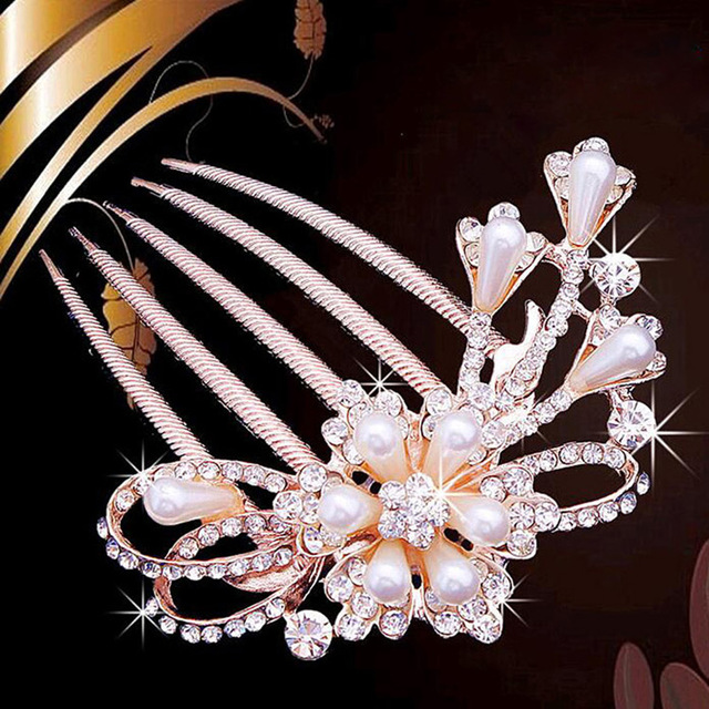 bride hairpin Peacock pearl flowers Wedding crystal rhinestone pearl flower hairpin diamante clip hair comb pin comb 2MOB