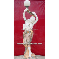 Marble lady sculpture with floor lamp