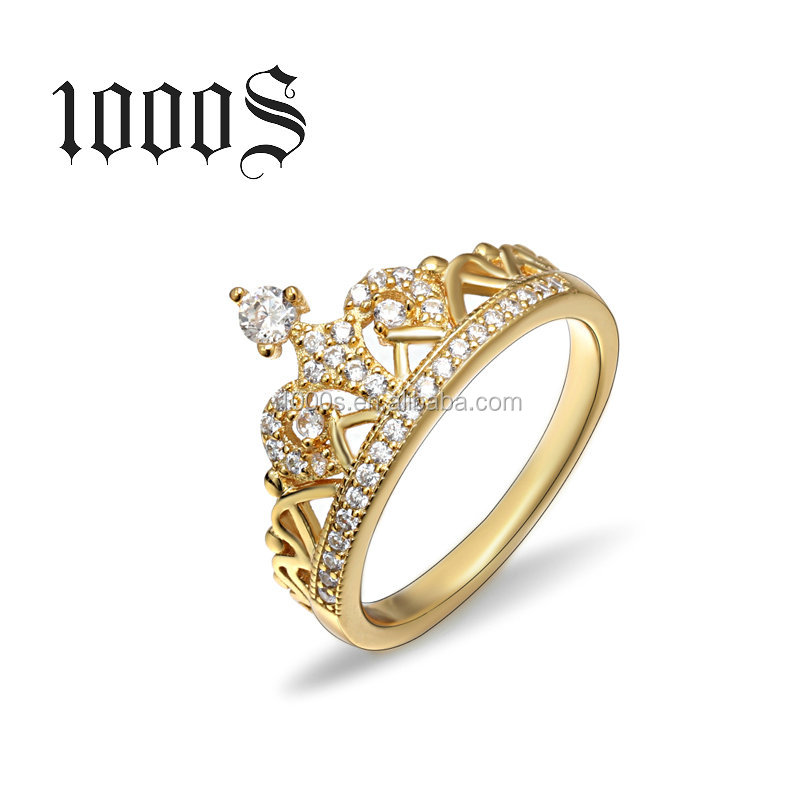Gold Plated Silver Engagement Crown Ring For Women, Latest Wedding Ring Designs Wholesale