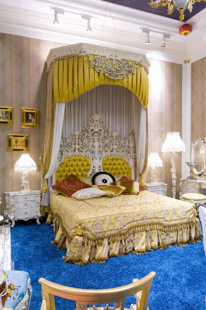 European Classical Luxury Bedroom Set, Wooden Hand Carving Canopy Bedroom Set King Size (B50923)