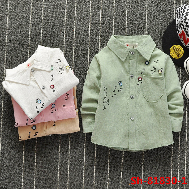 Wholesale clothing musical note printed kids fancy boys dress shirts
