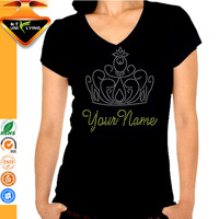 V-neck T-shirt Hot Fix Rhinestone T Shirt Wholesale Cheap