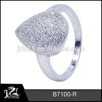 Fashion silver rhinestone butterfly design bird ring jewelry 925 sterling silver with white gold plating