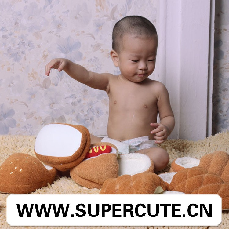 Fashion Cotton Slippers Hot For Children Soft Sole Bread Warm Home Slippers