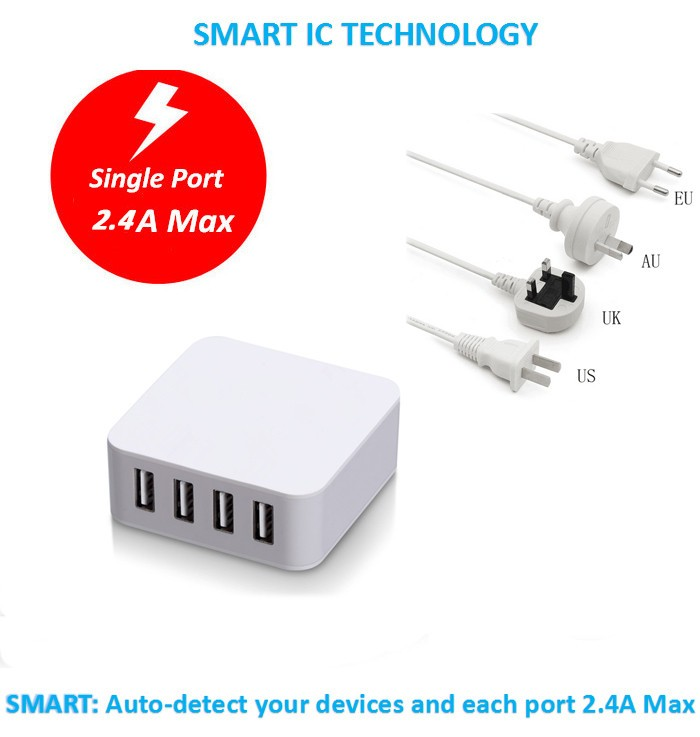 factory supply KC certified android mobile phone 5V 5A charger 4 usb ports mini size travel charger with 1.2m cable lead