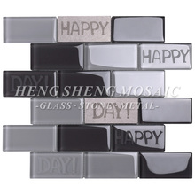 Latest Design Kitchen Brick Mosaic Wall Grey Sand Blast Crystal Glass Tile