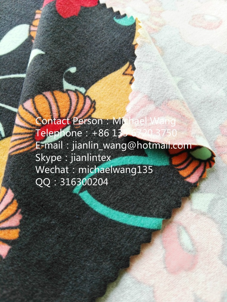 Jishengxiang Textile DTY double sides brushed jersey knitted printed polyester spandex fabric