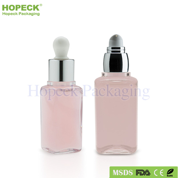 mini square shape PET plastic bottle for shampoo 30/50ml with pump/dropper